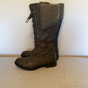 Size 9 Lace Up Tall Grey Boots W/ Side Zipper